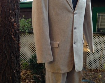 "50's FLECKED SUIT / Cream with Grey Flecks / 2-Piece / Mint Condition / Deadstock /Men's Size 38 Long 32"" waist"