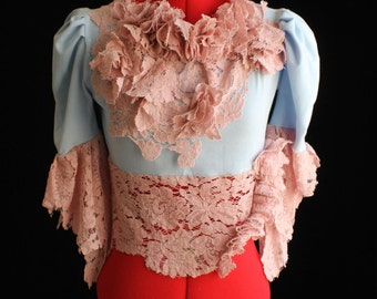 Victorian Blouse in Light Blue & Rose Lace Ruffles (Romantic Shipwrecked Shabby Cottage) Size S