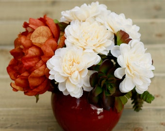 SALE Faux Silk Succulent, Auburn, and Peony Faux Flower Arrangement