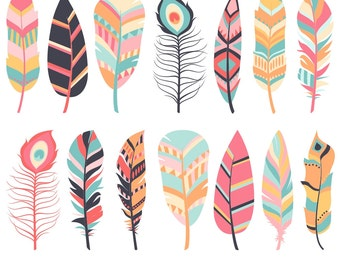 80% OFF SALE Feather Clipart, Digital Feathers, Feather Clip Art, Pink Feathers, Navy Feathers, Commercial Use, Printable