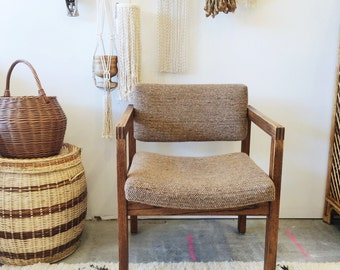 Mid Century Modern Tweed and Oak Chair