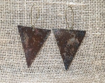 Brass Rustic Patina Triangle Pendant Earrings