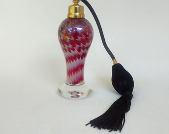 Spun Art Glass Perfume Bottle with Atomizer - Dresser Scent Bottle - Perfume Spritzer - Red w/ White Swirls - Refillable