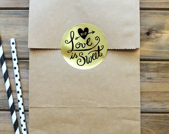 Love is Sweet Stickers - Wedding Labels - Wedding Stickers - Set of 12
