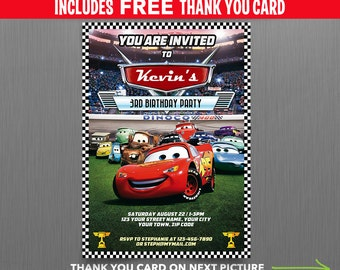 Disney Cars Lightning McQueen Birthday Invitation with FREE editable Thank you Card - Instant Download and Edit with Adobe Reader