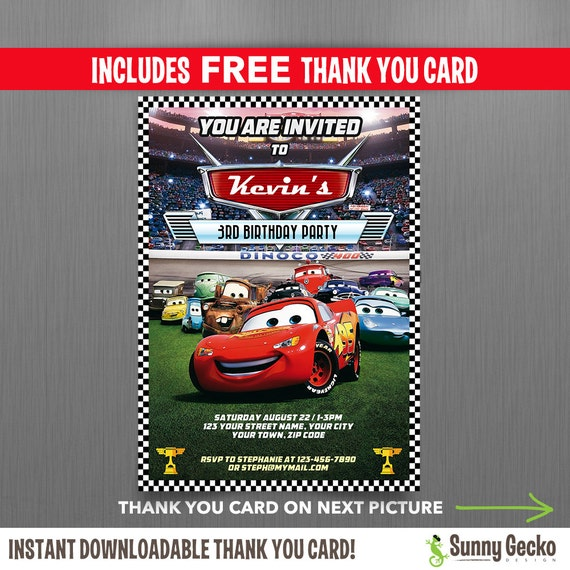 Cars Invitation Card Template Free: Disney Cars Lightning McQueen Birthday Invitation With FREE