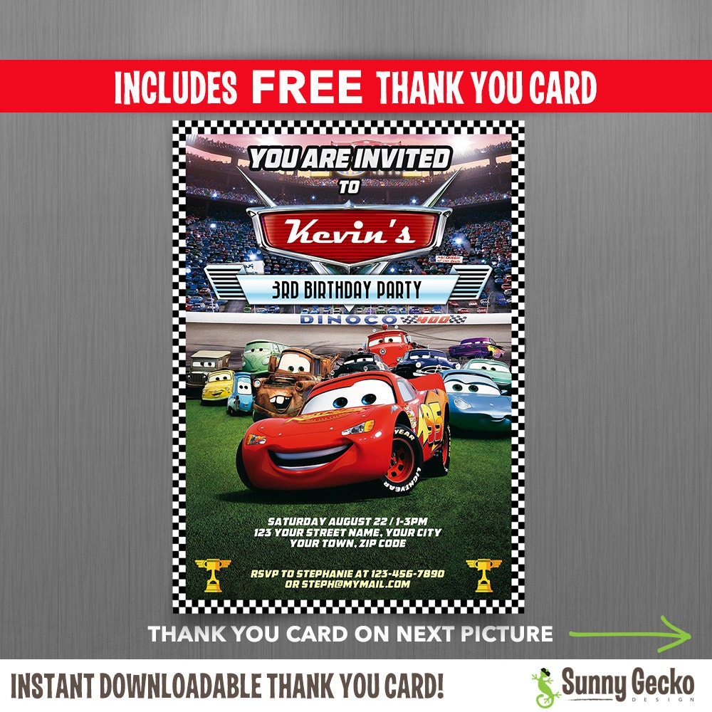 disney cars ticket disney cars lightning mcqueen birthday invitation editable thank you card instant and edit adobe reader