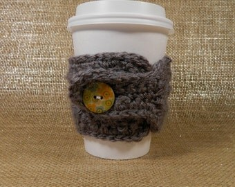 Knit Coffee Cozy with Button // Eco-Friendly // Coffee Sleeve