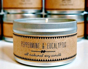 PEPPERMINT & EUCALYPTUS Hand Poured Soy Candle. Natural Candle. Eco Friendly. Essential Oils. Mint Candle.