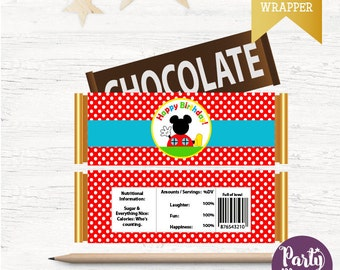 Mickey Printable Candy Wrappers, Mickey Mouse Chocolate Bar Wrappers, DIY, Mickey Mouse Birthday Collection D567 CMC1