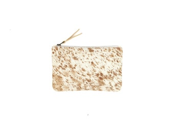 Small Cowhide Clutch | Wallet | Bag | Purse | Caramel Speckled