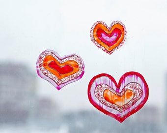 Hearts decor set of 4 pcs. Red pink romantic, wedding ornaments. Stained-glass view wall, window, mirror, frame, curtains, bouquet decor