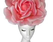 Huge Rose Hat Pink Wedding Hat Giant Rose Hatinator; Pink Rose Hat; Wedding Hat; Couture Hat;  Luxury Hat; Occasion Hat Headpiece