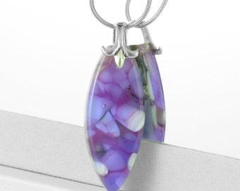 Violet, Lavender and White Fused Glass Pendant - Glass Jewellery - Necklace - Fused Glass Jewelry - Pebble Technique JBT296