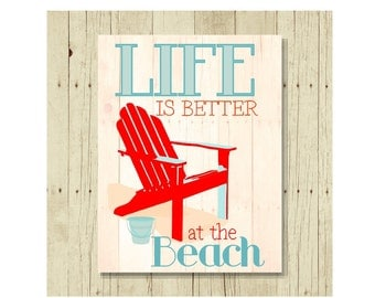 Life is Better at the Beach, Refrigerator Magnet, Fridge Magnets, Adirondack Chair, Adirondack Decor, Cute Fridge Magnet, Gifts Under 10