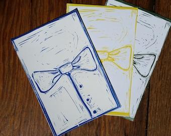 Letterpress Postcard Set of 3 - Bowties