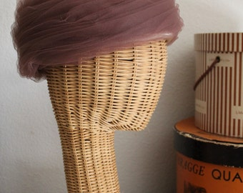 Vintage 50's 60's  I MAGNIN of California Beehive Brown Swirled Tulle Hat fancy!