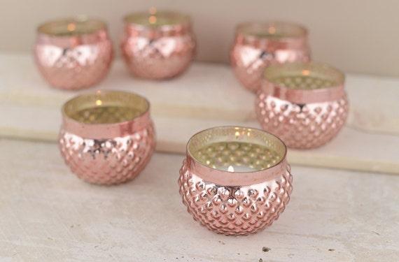 set of 12 rose gold mercury hobnail glass votive candle. Black Bedroom Furniture Sets. Home Design Ideas