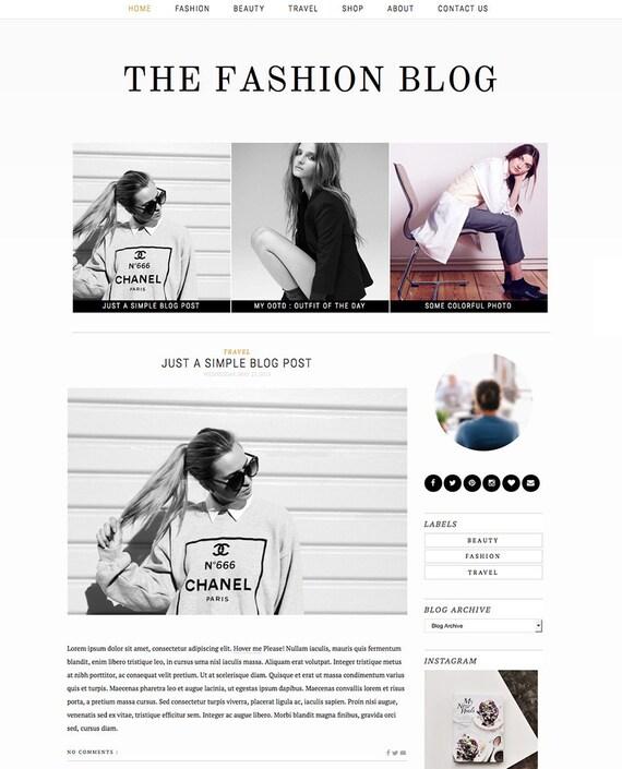 "Blogger Template Premade Blog Design - ""Fashion Blog"" Premade Blogger Theme Gold Black and White - Responsive Blogger Template"