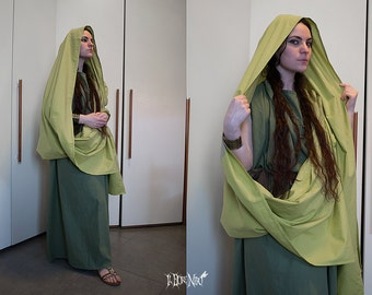 10% off! Ancient Roman green tunic and palla, custom made (Reenactment/LARP/Living History/Historical costume/Stage)