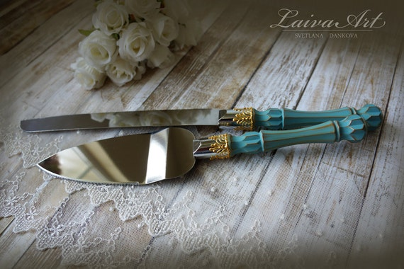 wedding cake cutting knife teal wedding cake server set amp knife cake cutting set wedding 8612