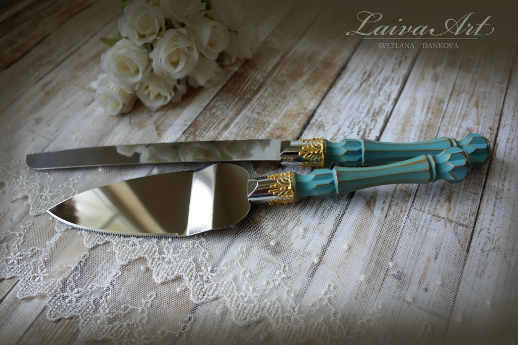 teal wedding cake server set knife cake cutting set wedding. Black Bedroom Furniture Sets. Home Design Ideas