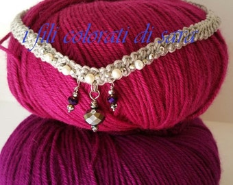 Neck band cotton ecru with crystal pendants
