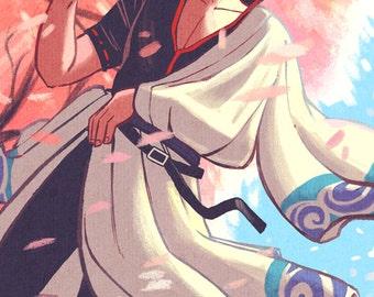 """Gintoki Sakata 11x17"""" Fan Art Print Gintama"""