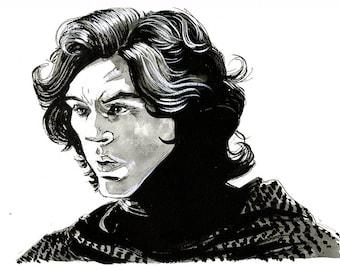 Star Wars - The Force Awakens - Kylo Ren/Ben Solo (Adam Driver) original ink drawing