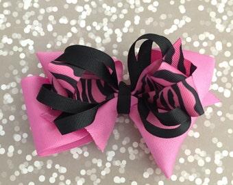 Zebra Boutique Hair Bow | Pink Zebra Hair Bow | Fuchsia Hair Bow | Toddler Hair Bow | Large Hair Bow