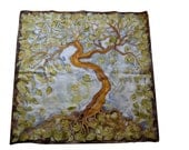 Hand-painted silk scarf - The Tree, square silk scarf, original painting on silk, nature, leaves