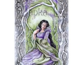 Original illustration - Lady of sorrow, signed art, fantasy, purple and green