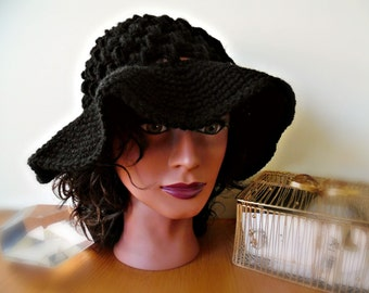 Crochet Mesh Sun Hat,  Beach Hat, Wide Brim Hat