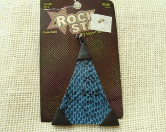 Large reversible triangle pendant - dark blue, maroon faux snake skin - double-sided pendant - jewelry supply - abstract, rustic focal