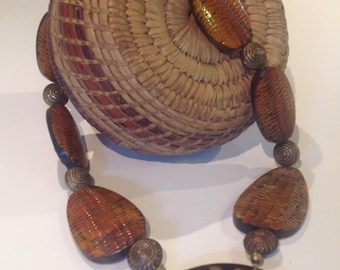 Nice ethnic necklace with horn beads