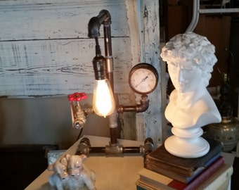 Steampunk Desk Lamp Industrial Pipes with Red Faucet Switch, Large Brass Pressure Gauge and Edison Styled Bulb