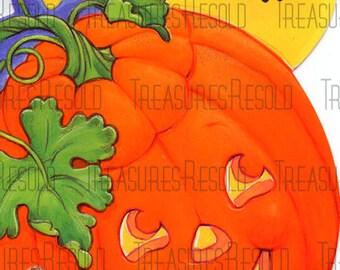 Retro Pumpkin Jack O Lantern Halloween Card #430 Digital Download