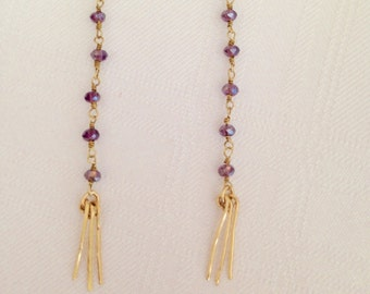 Amethyst with gold filled