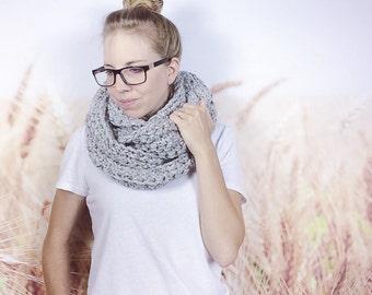 Oversized Eternity Scarf, Teen Fall Fashion Scarf, Womens Infinity Scarf, Crochet Scarf, Chunky Loop Scarf, Winter Scarf - {GREY MARBLE}