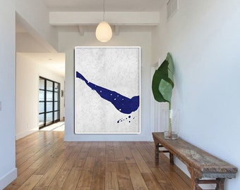 Blue And White Abstract Painting on Canvas, Large Abstract Art Landcape Art, Minimalist Art Hand Made Acrylic Painting.