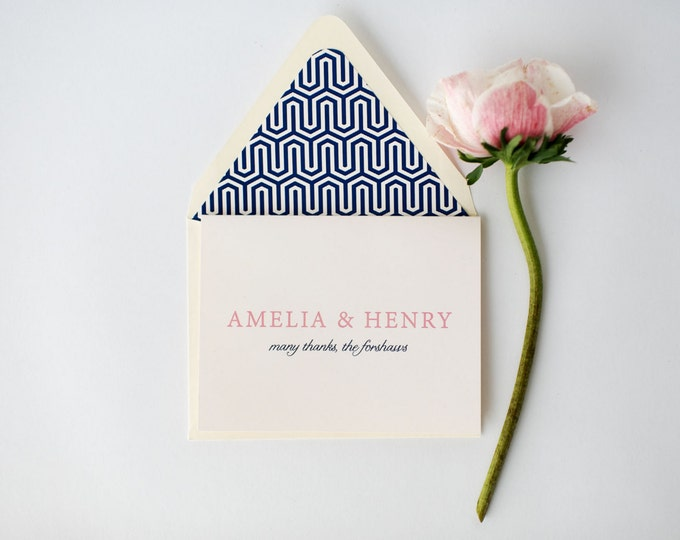 amelia personalized thank you cards +  lined envelopes (sets of 10) // wedding thank you cards // lola louie paperie