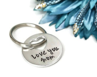Love You Mom Hand Stamped Keychain   Gift For Mom   Mom Gift   Mothers Day Gift   Aluminum Keychain   Gift For Mom From Daughter