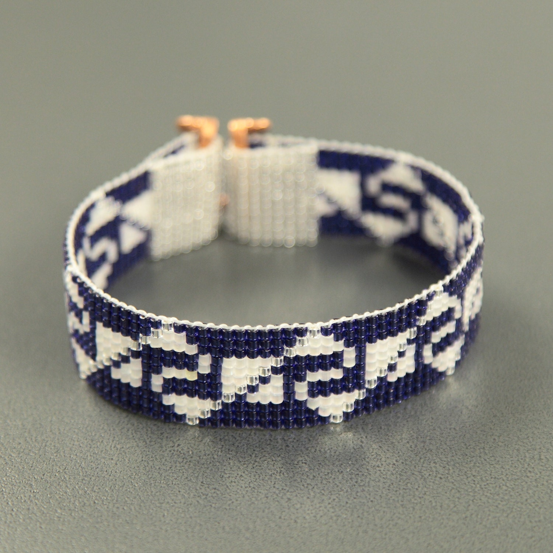 incan indian sapphires bead loom cuff bracelet american