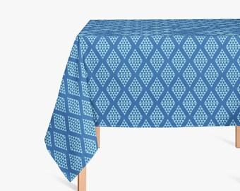 Modern Tablecloth, Handmade Tablecloth, Blue Tablecloth, Geometric  Tablecloth, Modern Dining Room,