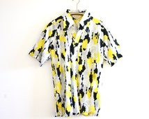 Vintage 70's Mod Black and Yellow Lilly Dache Button Down Shirt with Trippy Print // Men's Festival Shirt