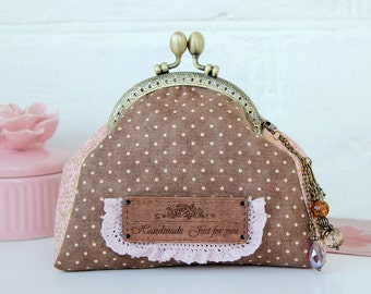 Polka Dots Cosmetic Bag Pouch Kisslock Coin Purse Metal frame purse Kisslock bag wallet Cosmetic bag pouch bag toilet