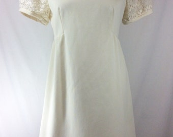 Womens Vintage Poly Ivory BabyDoll Mini Dress with Lace Chevron Sleeves size S