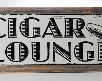 Cigar Lounge Metal Sign,On Handmade Rustic Reclaimed Wood Frame, Man Cave, Den Decor, Bar Décor 20131SF