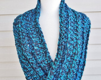 Crochet Silky Soft, Light Mobius Scarf in Mottled Blue Green and Black for Fall or Winter