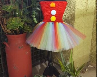 Girls Clown Tutu Dress//Toddler Clown Costume//Girls Clown Costume